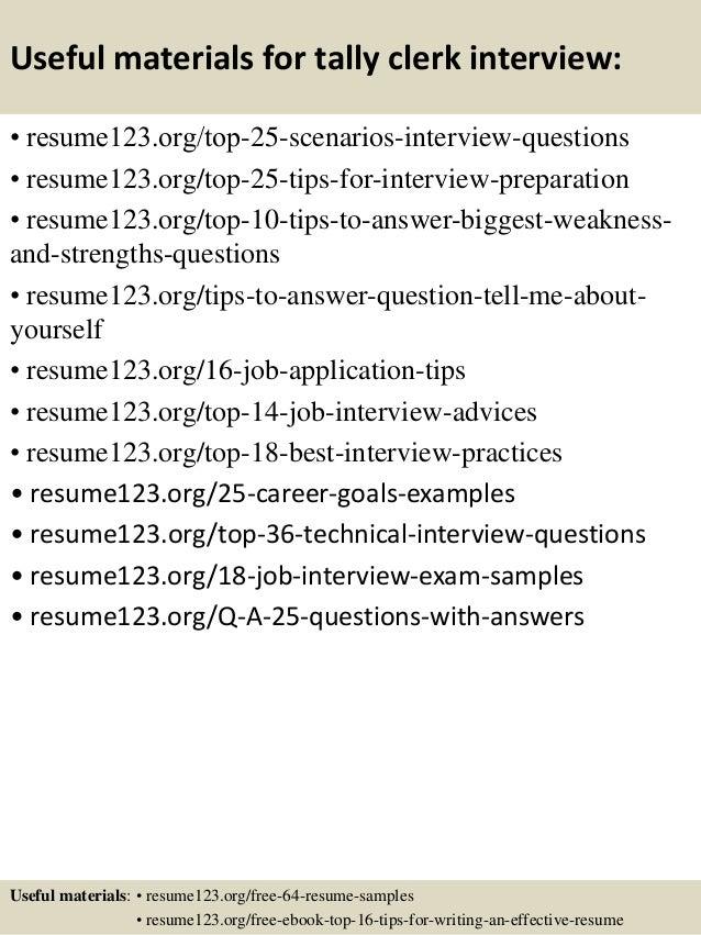 top 8 tally clerk resume samples