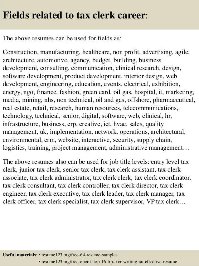 Top 8 Tax Clerk Resume Samples