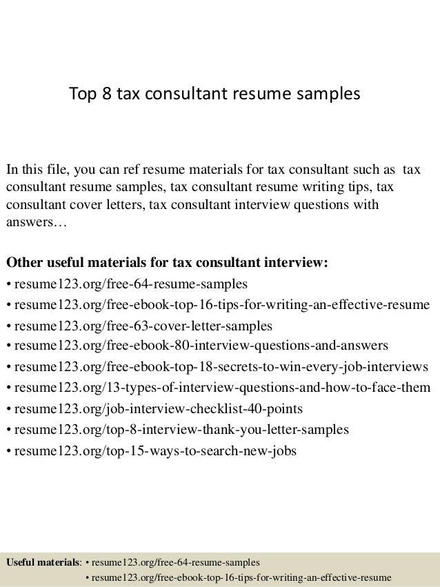 tax advisor resume