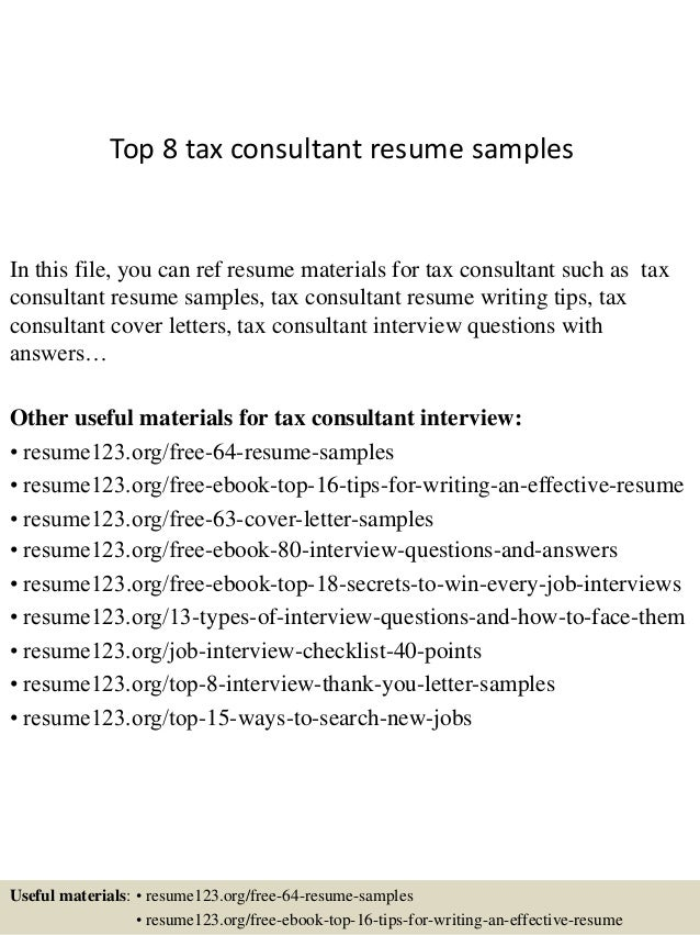 Great Top 8 Tax Consultant Resume Samples In This File, You Can Ref Resume  Materials For ...
