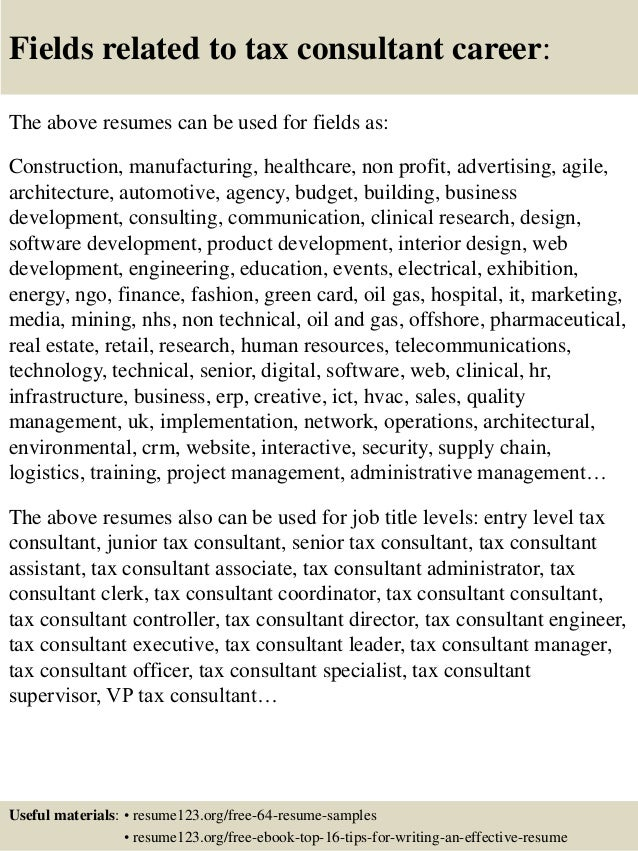Top  Tax Consultant Resume Samples