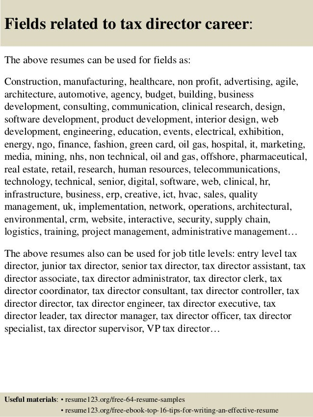 Top 8 tax director resume samples