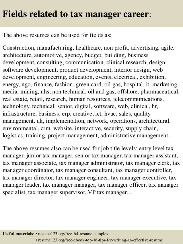 Top 8 tax manager resume samples 16 fields related to tax manager yelopaper Gallery