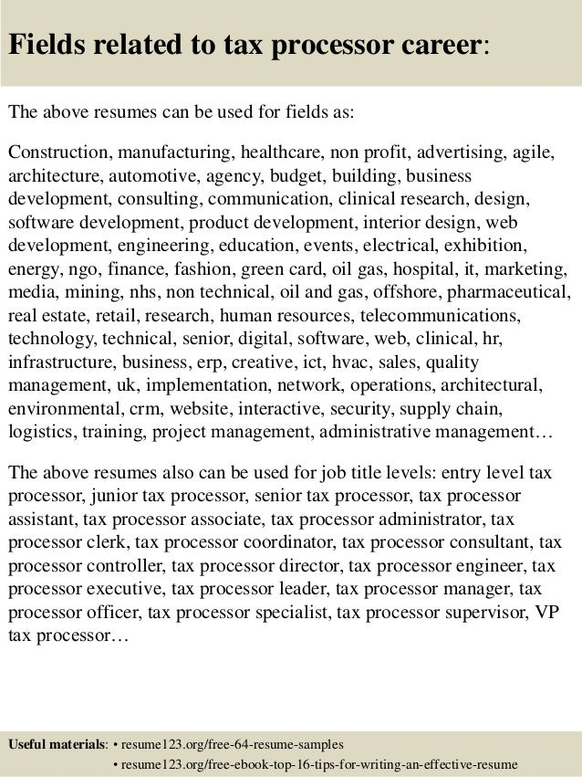 ... 16. Fields Related To Tax Processor Career: The Above Resumes ...