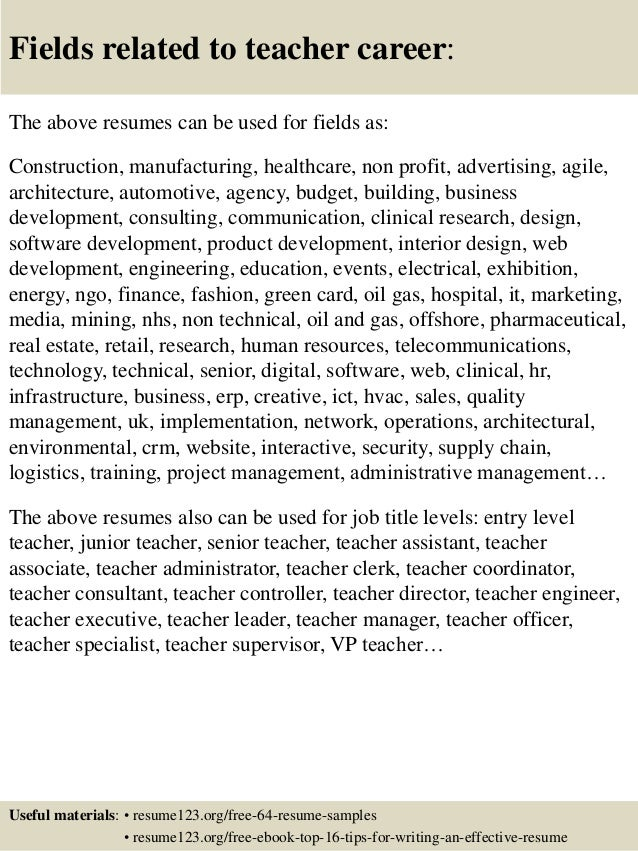 ... 16. Fields Related To Teacher Career: The Above Resumes ...