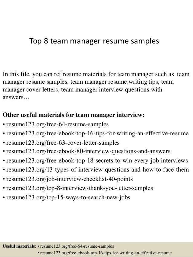 team manager resume sample