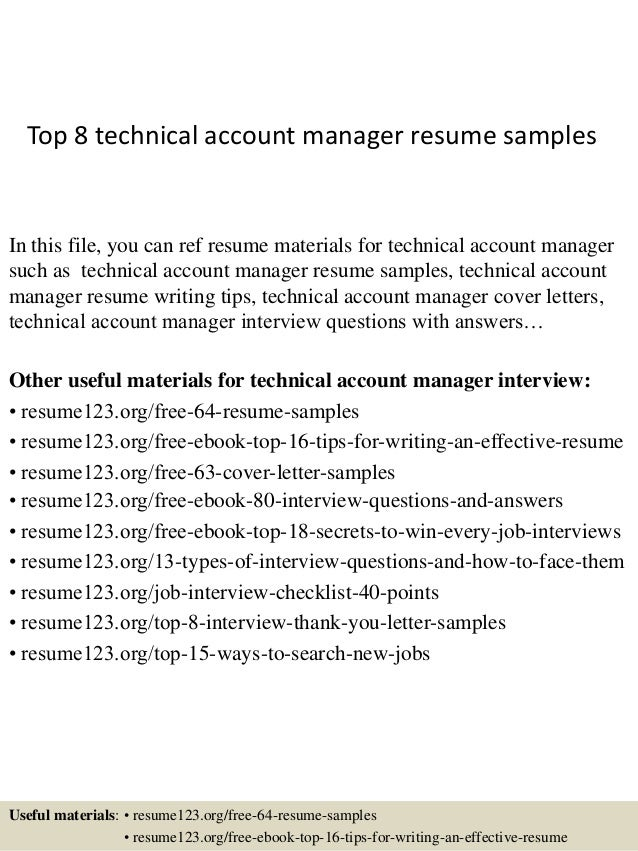 top 8 technical account manager resume samples in this file you can ref resume materials - Account Manager Resume