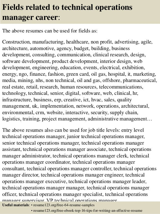 Top  Technical Operations Manager Resume Samples