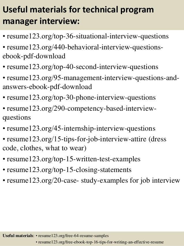 program management resume samples