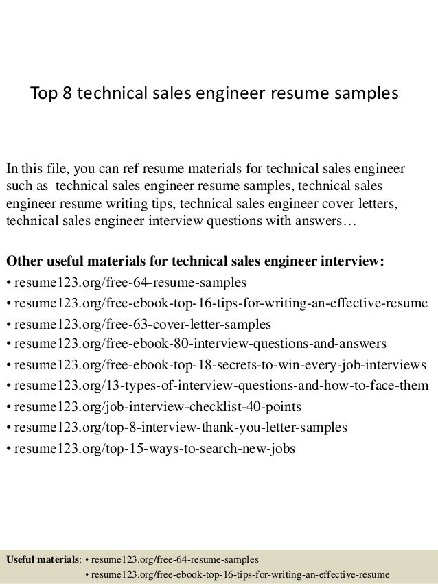 top 8 technical sales engineer resume samples in this file you can ref resume materials - Sales Engineer Resume