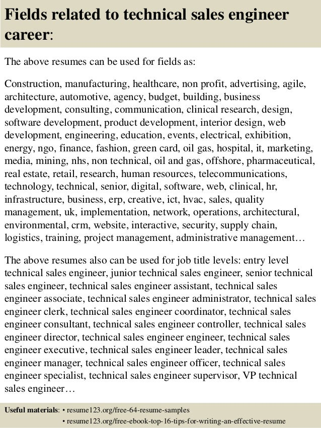 16 fields related to technical sales engineer - Sales Engineer Resume