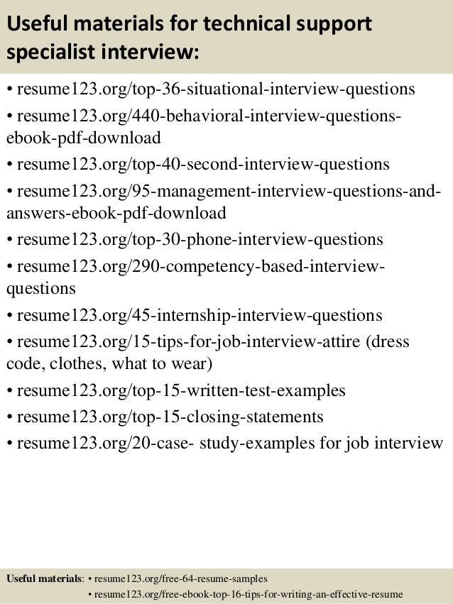 Technical Support Specialist Job Description For Resume ...