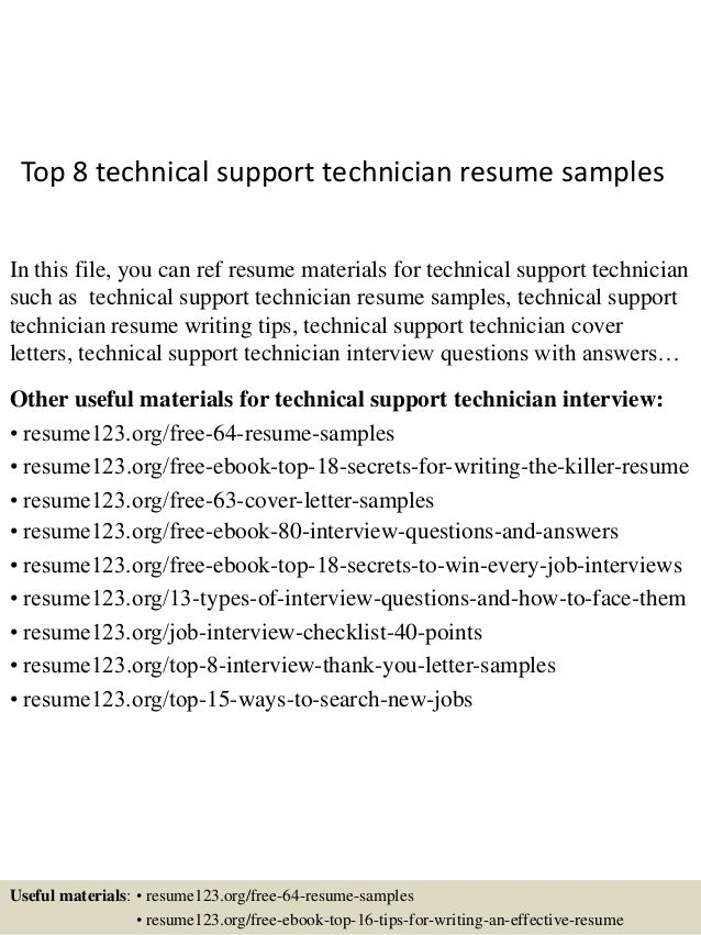 Top 8 Technical Support Technician Resume Samples In This File, You Can Ref  Resume Materials ...
