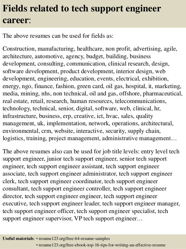 top 8 tech support engineer resume samples