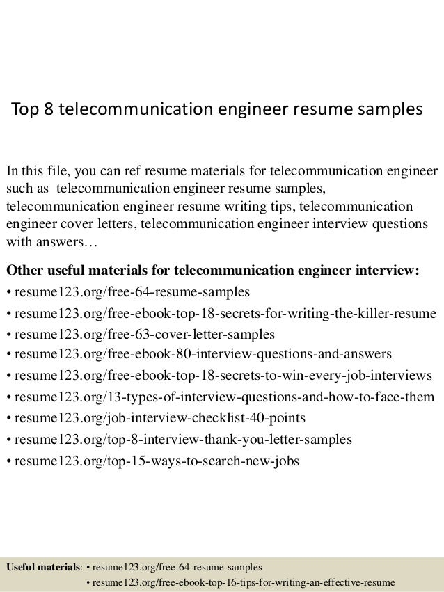 Top 8 Telecommunication Engineer Resume Samples In This File, You Can Ref  Resume Materials For ...