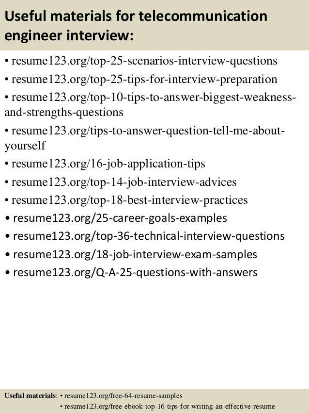 telecommunication resume