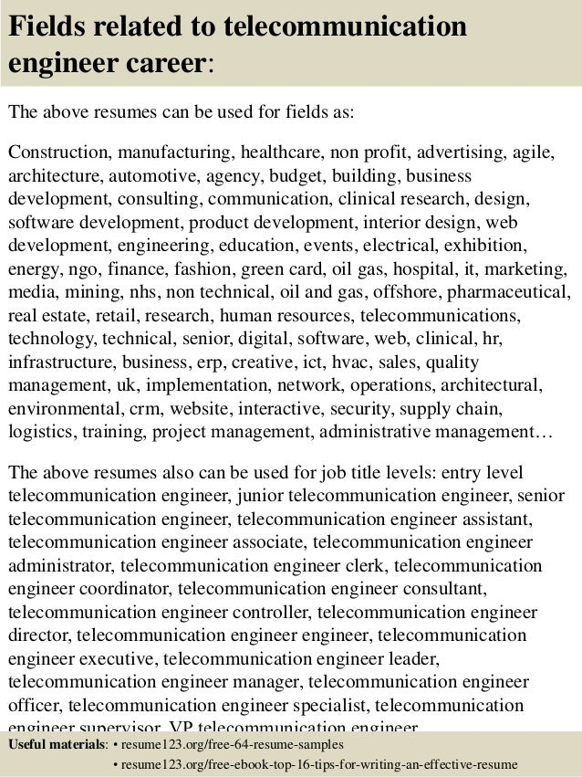 ... 16. Fields Related To Telecommunication Engineer Career: The Above  Resumes ...