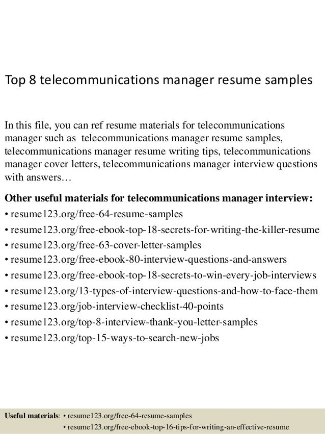 Top 8 Telecommunications Manager Resume Samples In This File, You Can Ref  Resume Materials For ...