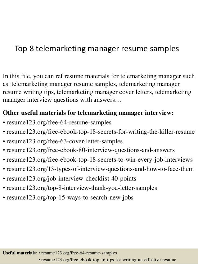 Top 8 Telemarketing Manager Resume Samples In This File You Can Ref Materials For