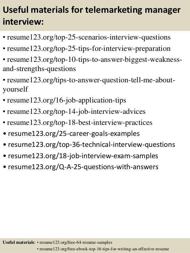 telemarketing resume