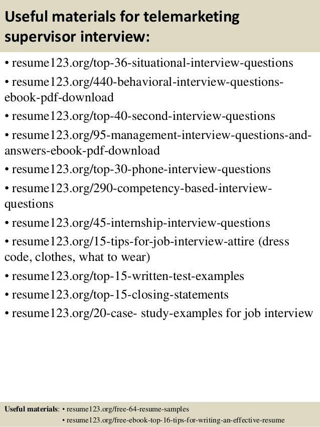 Top 8 telemarketing supervisor resume samples