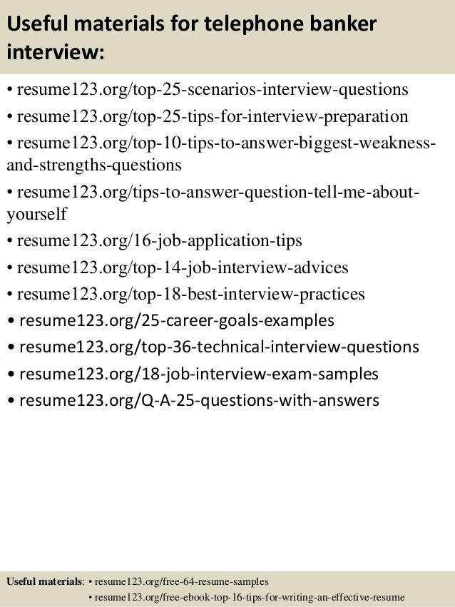 top 8 telephone banker resume samples
