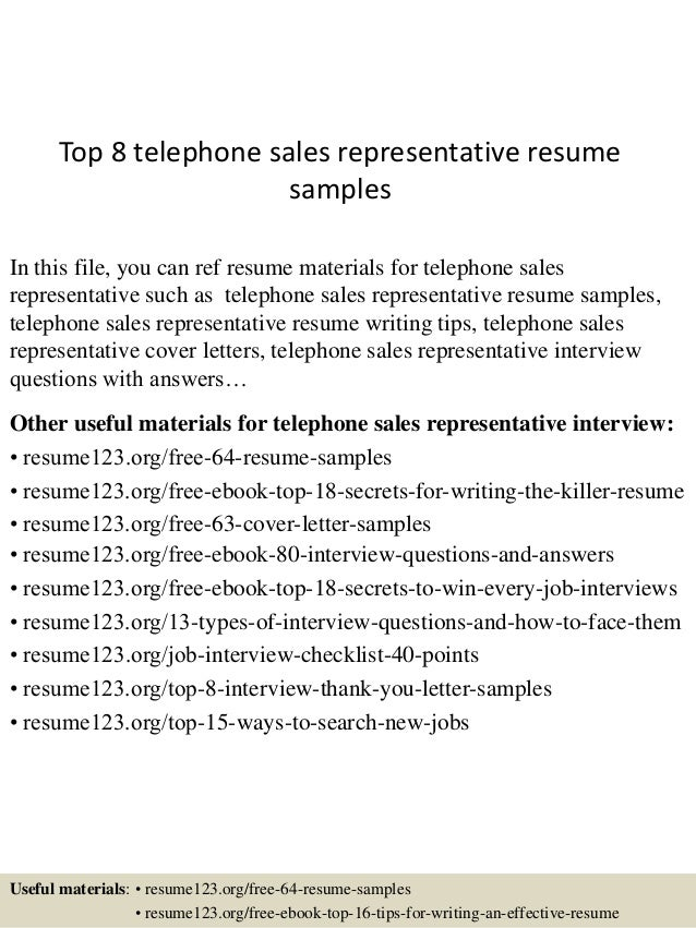 Top 8 Telephone Sales Representative Resume Samples In This File You Can Ref Materials