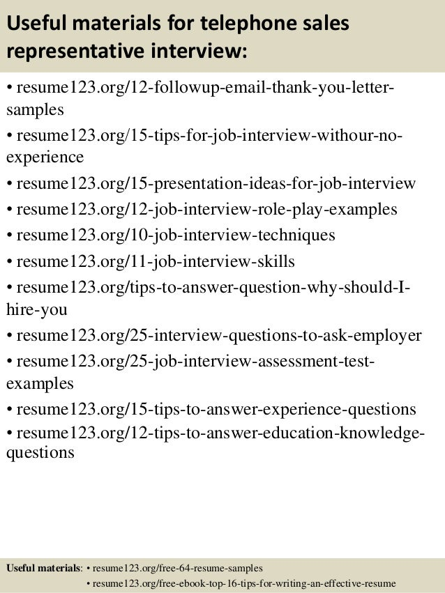 telephone sales representative resume samples