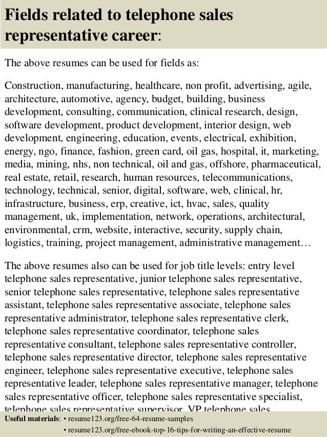 Top 8 Telephone Sales Representative Resume Samples