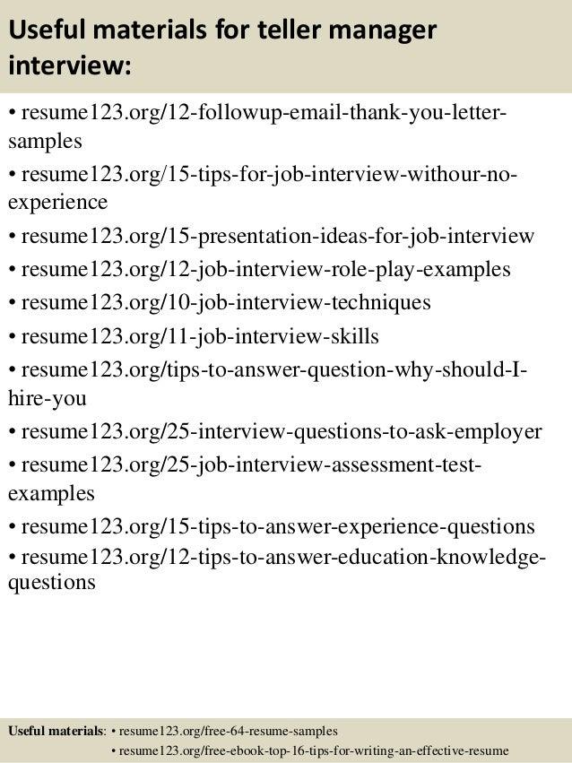 Top 8 teller manager resume samples