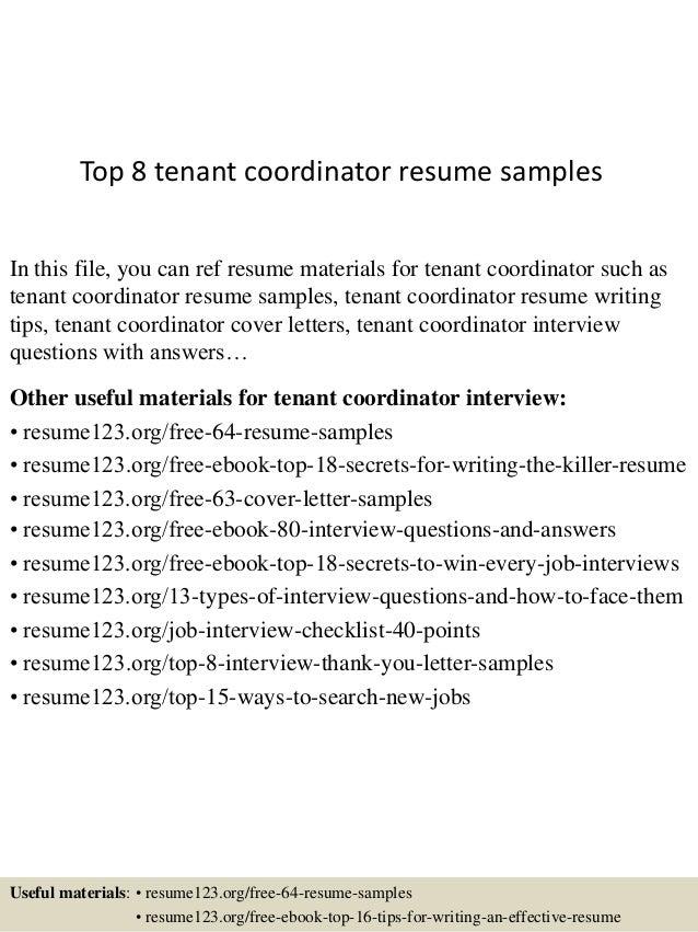 top 8 tenant coordinator resume samples