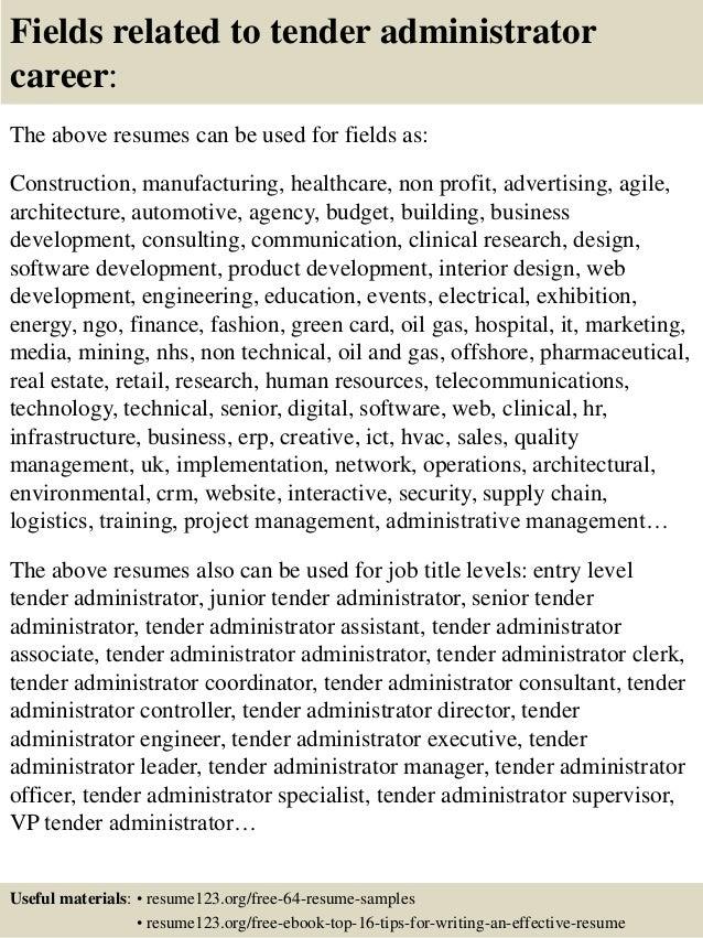 Top 8 tender administrator resume samples