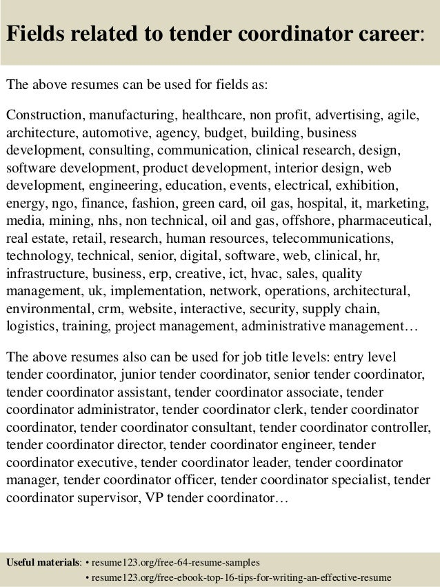 16 fields related to tender - Tender Executive Resume Template