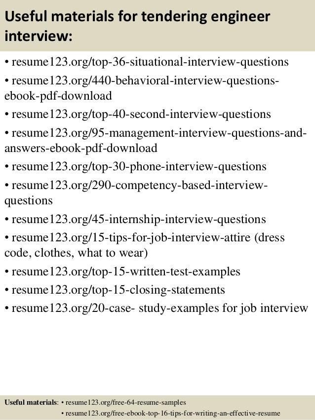 Top 8 tendering engineer resume samples