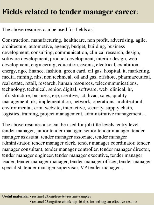 top 8 tender manager resume samples