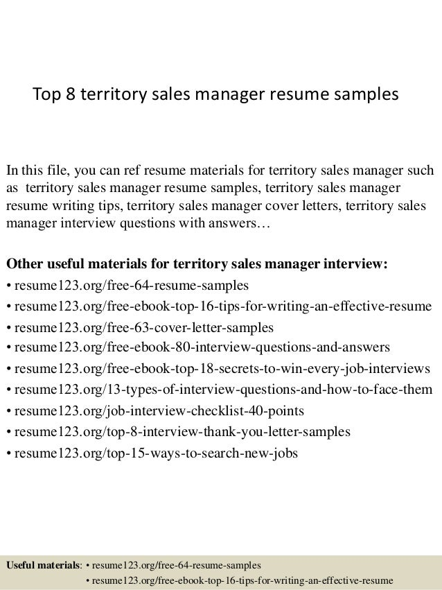 Nice Top 8 Territory Sales Manager Resume Samples In This File, You Can Ref  Resume Materials ... In Territory Manager Resume