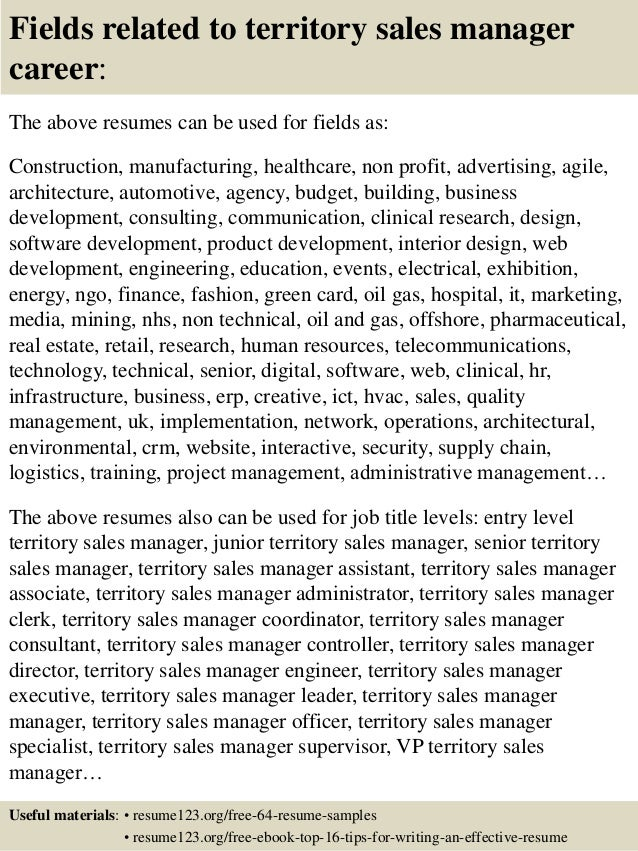 ... 16. Fields Related To Territory Sales Manager ...