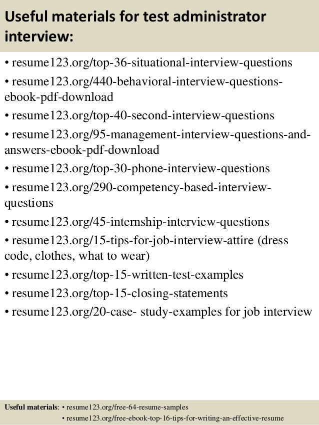 Top 8 test administrator resume samples