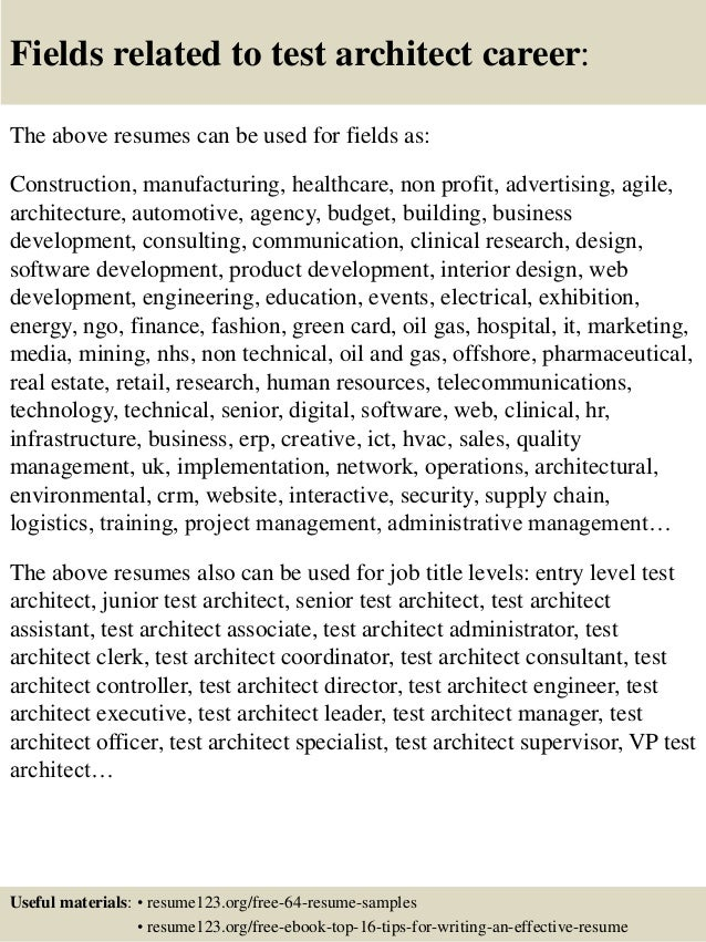 top 8 test architect resume samples
