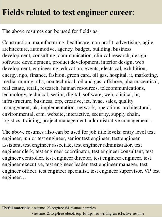 16 fields related to test engineer - Testing Engineer Resume