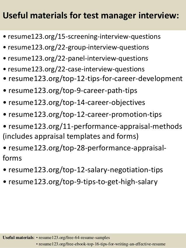 Sample Test Manager Resume | Top 8 Test Manager Resume Samples