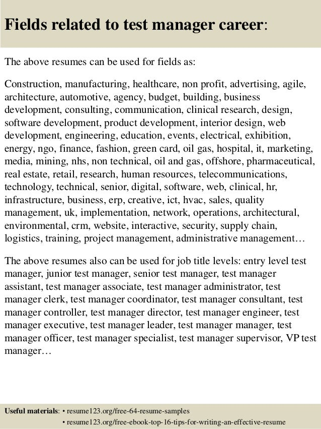 Genial ... 16. Fields Related To Test Manager Career: The Above Resumes ...