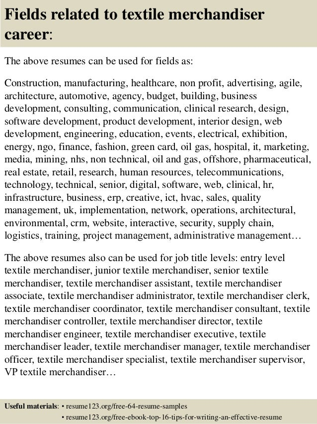 Top 8 textile merchandiser resume samples