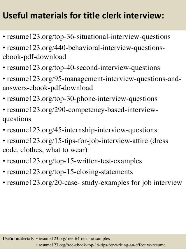 top 8 title clerk resume samples