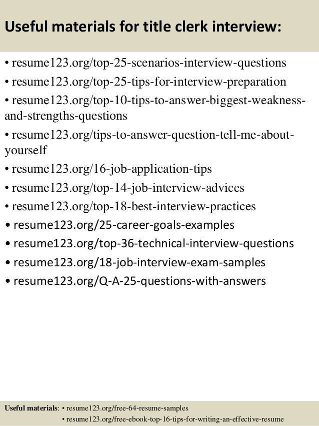 Top 8 title clerk resume samples – Title for Resume Example