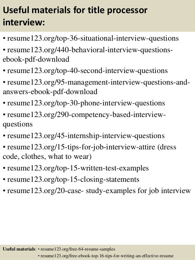 top 8 title processor resume samples