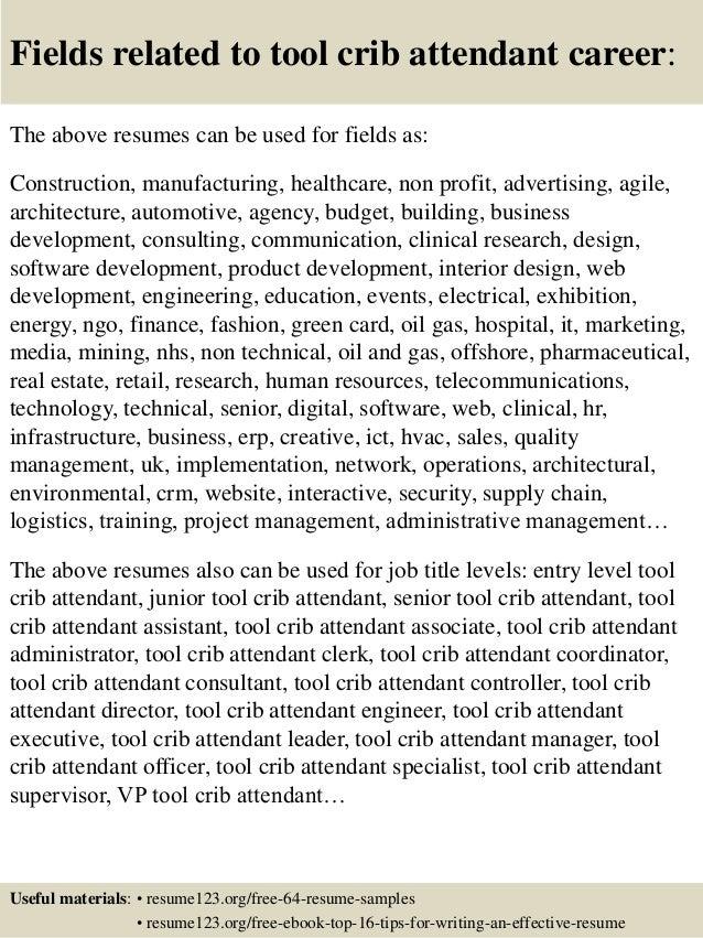 tool room attendant resume