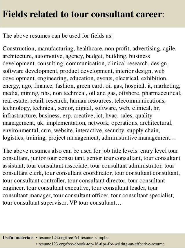 Top 8 tour consultant resume samples 16 fields related to tour consultant yelopaper Images