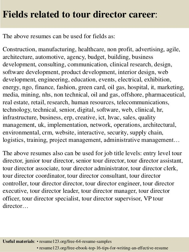 Awesome ... 16. Fields Related To Tour Director ... And Tour Manager Resume