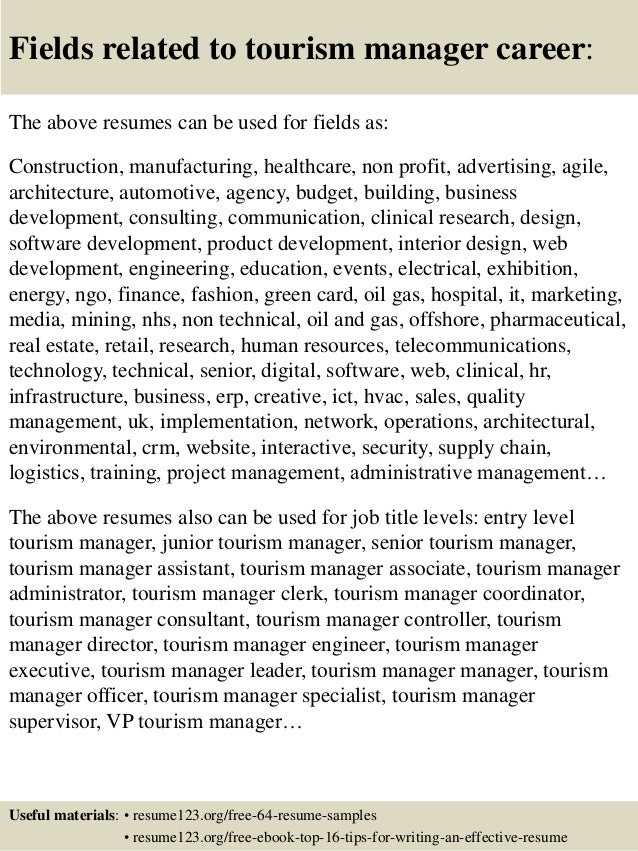 Top 8 tourism manager resume samples 16 fields related to tourism manager yelopaper Gallery
